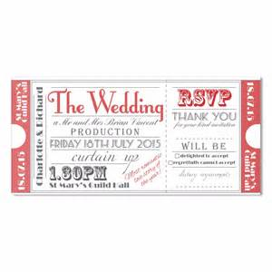 ticket to the theatre wedding invite in red