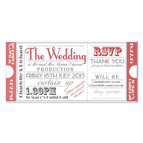 Ticket To The Theatre Wedding Invite In Red Theater Invitation Template