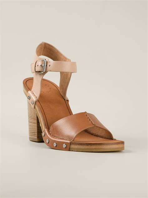 chunky heel sandals marc by marc chunky heel sandals in brown lyst