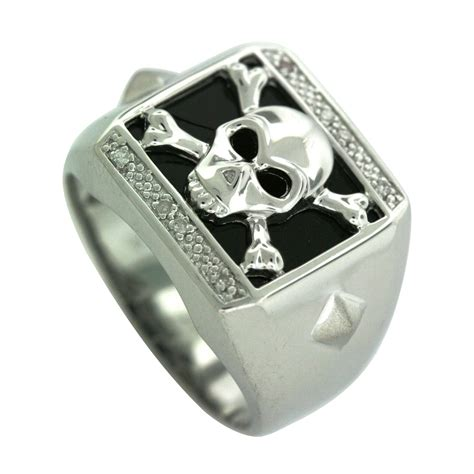 mens onyx and accent skull ring in sterling silver