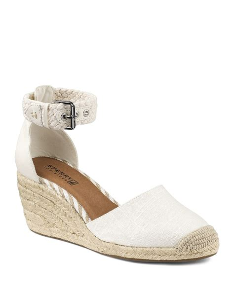 Best Seller Wedges On 02 Wedges lyst sperry top sider espadrille wedge sandals valencia closed toe in white