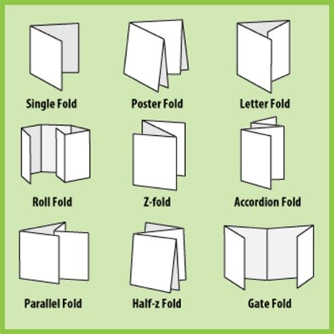 Different Paper Folds - stocks finishes quality press