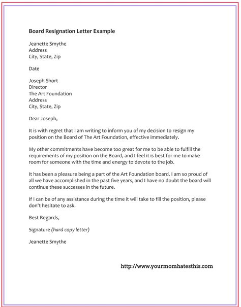 Resignation Letter Because Of Board Dos And Don Ts For A Resignation Letter