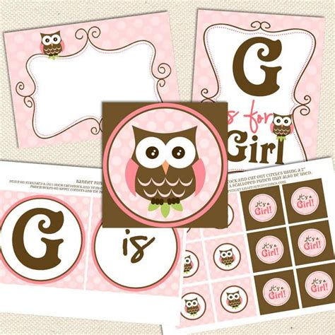 printable owl party decorations owl girl printable baby shower decorations lil sprout
