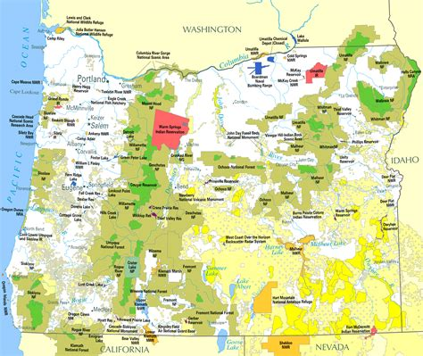 map of oregon lands file federal lands in oregon png wikimedia commons