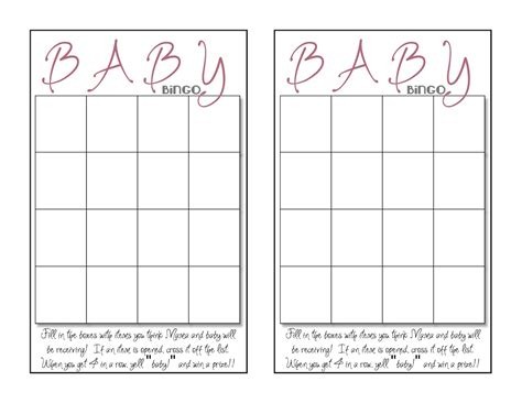 templates for baby shower bingo baby shower bingo card template