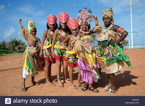 colourfully dressed children of a traditional afro