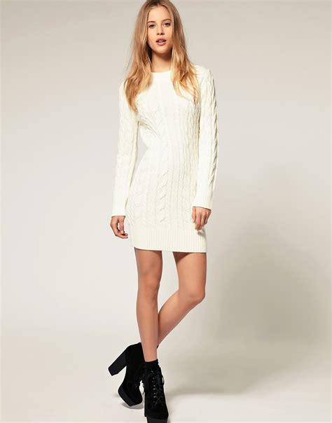 sweater knit dress asos asos cable knit sweater dress at asos