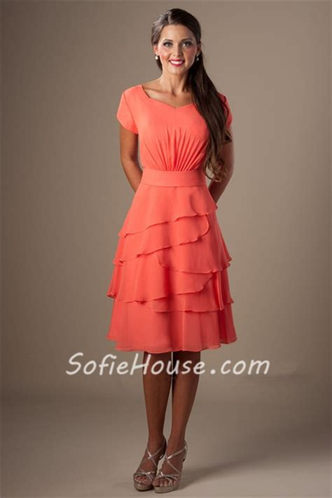 Dress Of The Day Tiered Dress by Modest A Line Sleeves Coral Chiffon Tiered Ruffles