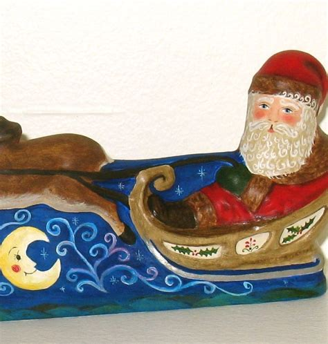 santa and sleigh vintage 40s plaster of paris crafted chalkware santa on sleigh from an antique chocolate mold by bittersweet