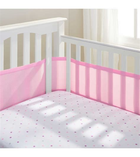 Breathable Baby Mesh Crib Liner Pink Mist Breathable Baby Crib Liner