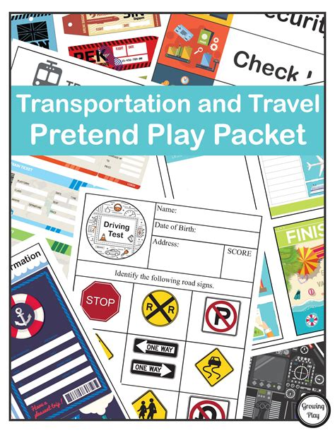 Paket Play transportation and travel pretend play packet growing play