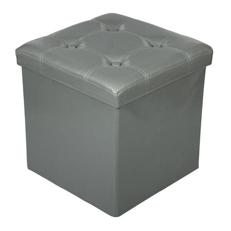 foot storage ottoman storage ottoman faux leather collapsible foldable seat
