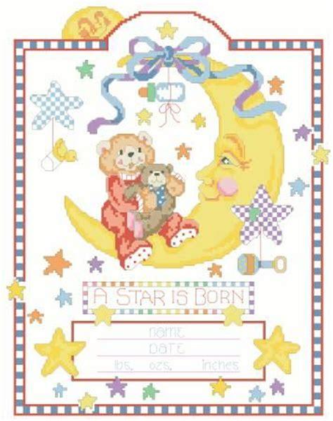 Record Of Live Birth Australia Celestial Moon Birth Record Cross Stitch Pattern X Squared Cross Stitch