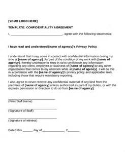 template nda sle confidentiality agreement sle of