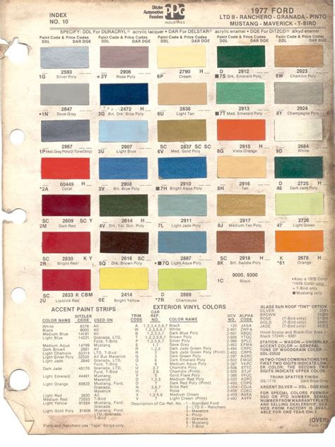 mavericks colors paint chips 1977 ford ltd ii ranchero granada pinto
