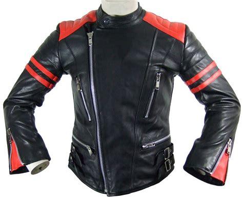 Englische Motorradjacke by Damen Siebziger Jahre Motorrad Lederjacke Schwarz Rot