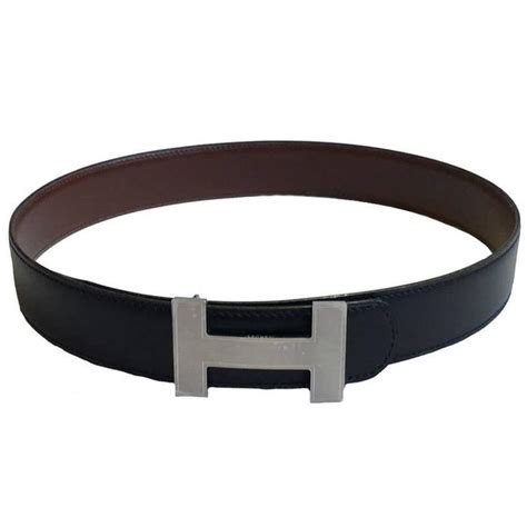 hermes reversible belt h in black and brown leather size