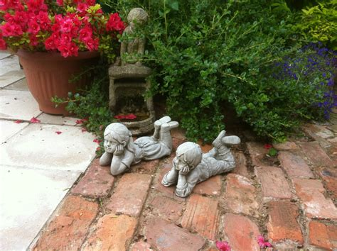 home garden small stone boy  girl decorative