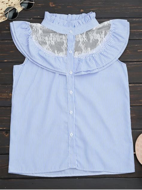 Striped Frilled Trim Blouse frilled striped lace inset sleeveless shirt blue blouses