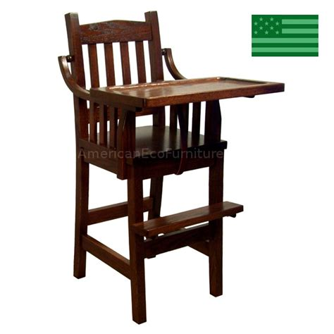 amish mission baby high chair solid wood