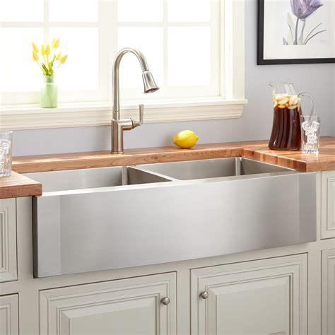 42 quot optimum double bowl stainless steel farmhouse sink wave apron kitchen
