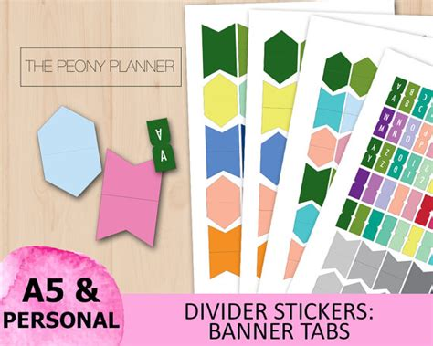 printable alphabet tabs printable divider banner tabs stickers labels a5 personal