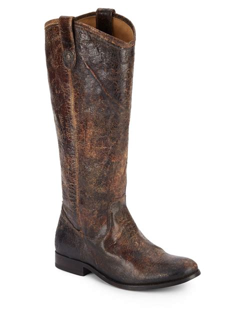 distressed boots frye distressed leather boots in brown lyst