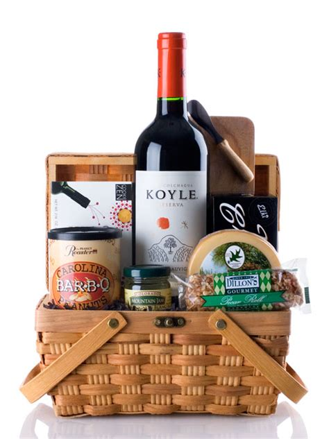 wine and cheese basket gift basket with cabernet sauvignon and smoked gouda