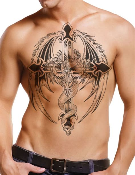 dragon and cross tattoos cross on guys chest free design ideas