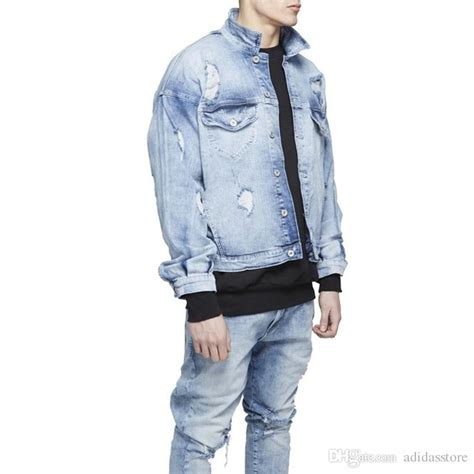 light blue distressed denim jacket mens oversized distressed denim jackets streetwear kanyye