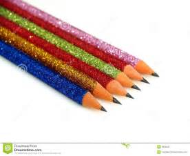 glitter colored pencils colorful glitter pencils royalty free stock photography