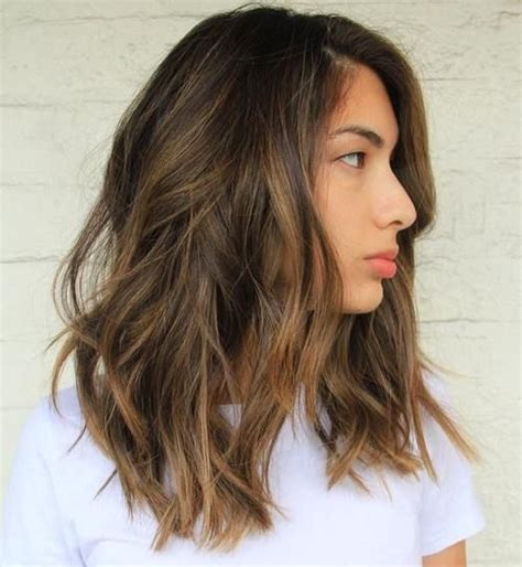 medium length hairstyles brown with a partial highlights balayage hairstyles for medium length hair