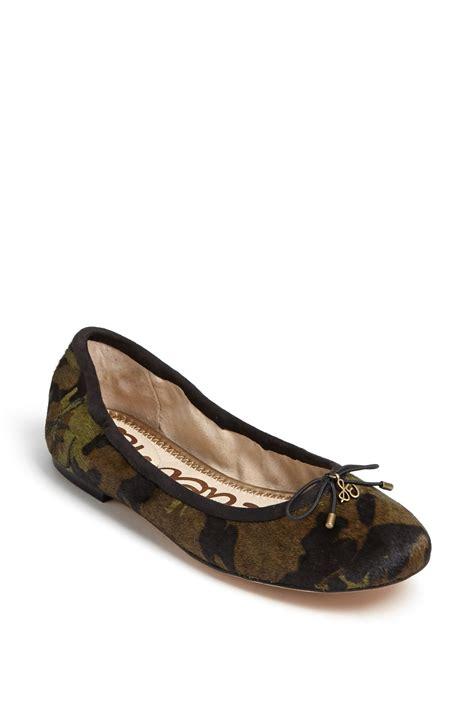 camo flats shoes sam edelman felicia flat in green camo calf hair lyst