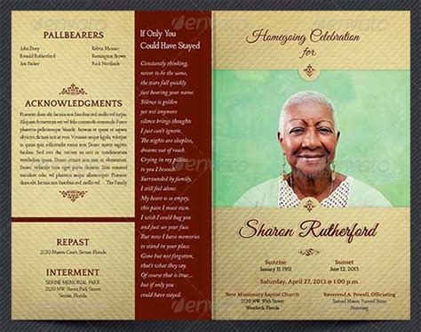 funeral obituary template 9 best images of free printable funeral programs