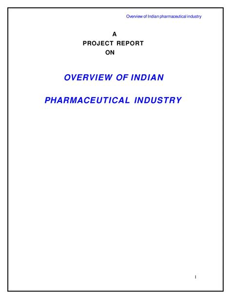 For The Pharmaceutical Industry Students Book Original a project report on overview of indian pharmaceutical industry 64 by sanjay gupta issuu