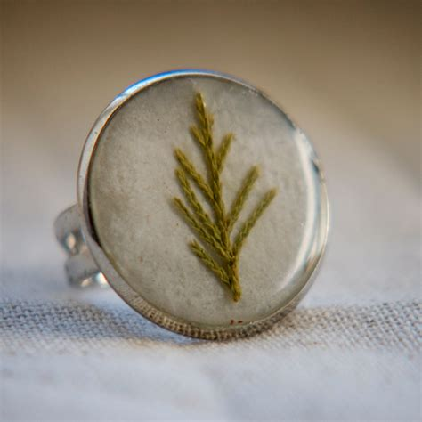 resin jewelry tree ring real pressed by