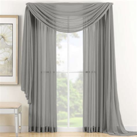 how to hang a scarf valance on a curtain rod mainstays marjorie sheer voile curtain panel walmart com