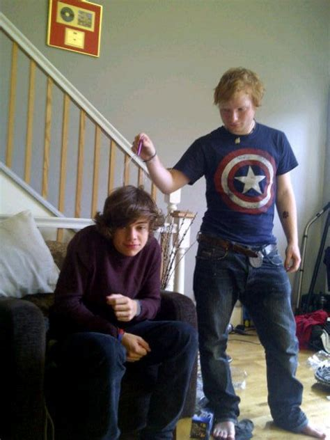 ed sheeran tattoo on harry styles ed sheeran in a captain america shirt messing with harry
