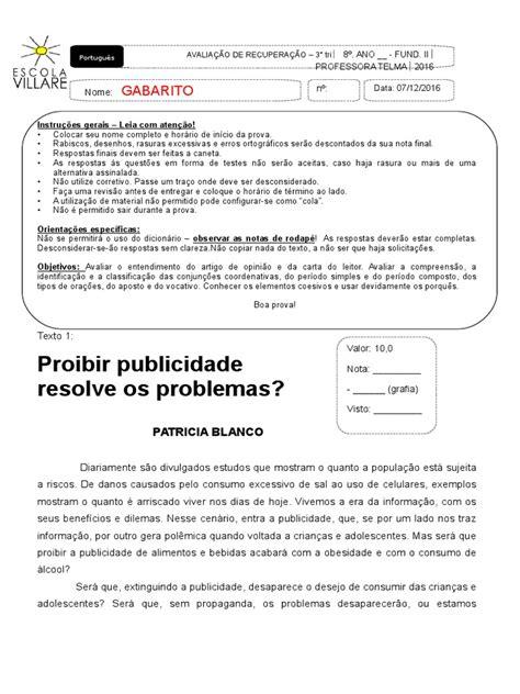 Prova Recuperacao 3 Trimestre 2016 Villare