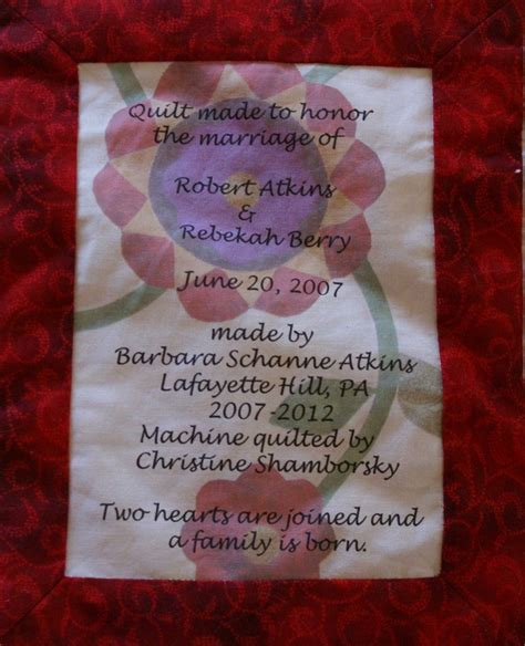 label for wedding quilt quilting labels