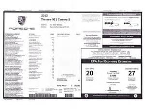 new car window sticker 2012 porsche 911 s new car reviews grassroots