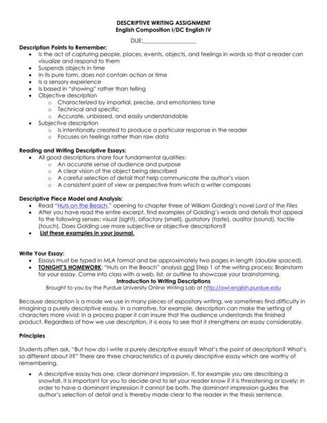 Descriptive Essay Assignment by Dominant Impression Essay Exles Docoments Ojazlink