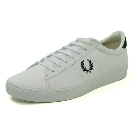 fred perry spencer canvas tennis shoe in white jon barrie