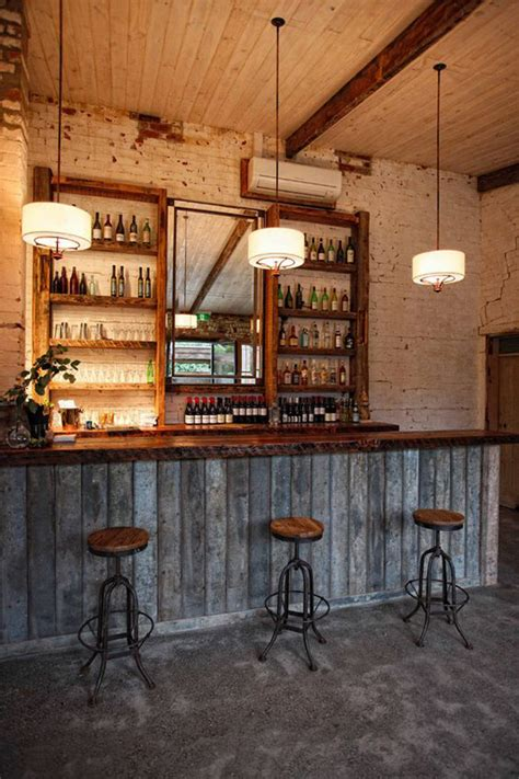 bar decor rustic wood basement bar decor