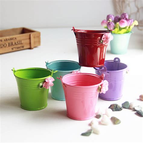 small pots pastoral candy color tin iron color small pots with handle