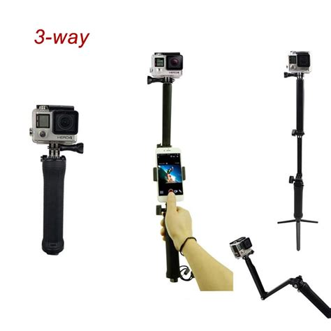 3 Way Monopod Tripod For Gopro Xiaomi Sjcam 竕ァ3 way extension selfie stick 窶 窶 grip grip tripod mount 竭 for for gopro 5 4 session 4 3
