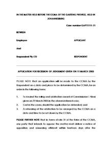 notice of motion rule 32 application rescission document labour law south africa download