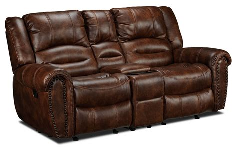 gliding loveseat whitaker gliding reclining loveseat with console brown