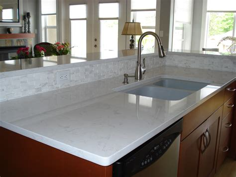 gorgeous white quartz countertops make a statement in